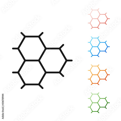 Black Chemical formula consisting of benzene rings icon isolated on white background Canvas Print