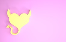 Yellow Devil Heart With Horns And A Tail Icon Isolated On Pink Background. Valentines Day Symbol. Minimalism Concept. 3d Illustration 3D Render