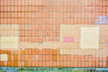 Vertical Orange Concrete Tiles Brick Wall, Pink Or Yellow Paint. Text Copy Space