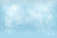 Vector Illustration Abstrac Blue Sky Background, Blurry Bokeh Light With Shining Effect