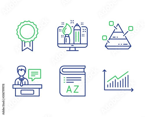 Vocabulary Creative Design And Reward Line Icons Set Pyramid Chart Exhibitors And Graph Signs Book Designer Best Medal Report Analysis Education Set Line Vocabulary Outline Icons Vector Buy This Stock Vector