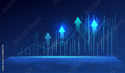 Tela Business candle stick graph chart of stock market investment trading on blue background