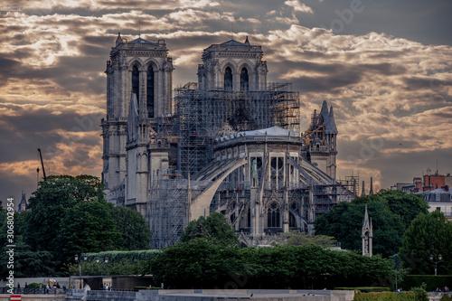 Stampa su Tela Paris, France - November 23, 2019: Notre Dame cathedral during restoration works