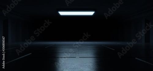 Fototapeta Empty light blue studio room futuristic Sci Fi big hall room with lights blue, Future background for design. obraz
