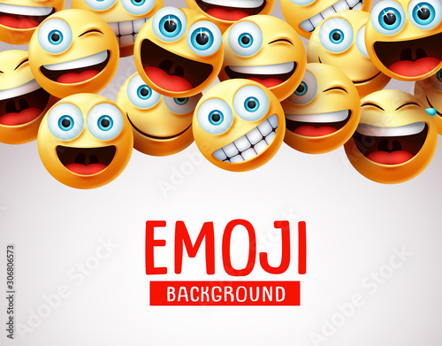 Emoji background vector template Wallpaper Mural