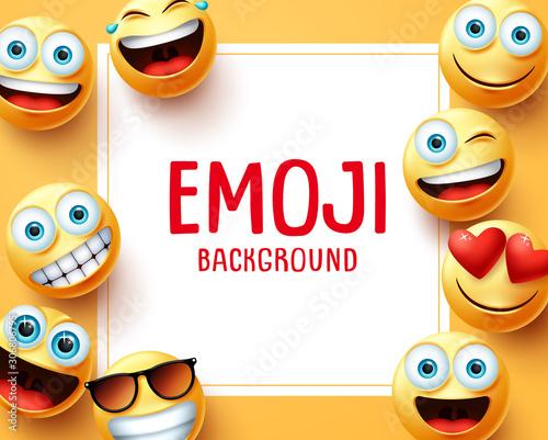 Emoji emoticons vector background template Canvas Print