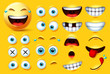 Smiley emoji creation kit vector set. Smileys emoticons and emojis face kit eyes and mouth in surprise, excited, hungry, and funny feelings isolated in yellow background. Vector illustration.