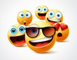 Smileys emojis famous celebrity vector concept. Famous smiley emoticon yellow faces group in 3d realistic avatar with cute, funny, excited, happy and smiling expression in white background.