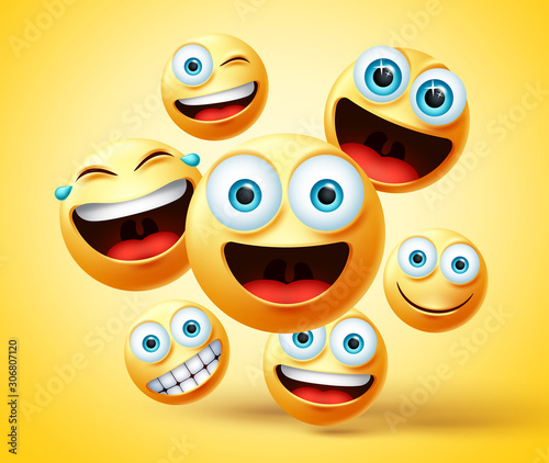 Smiley emoticon and emoji group vector design. Smileys emoticons cute face head group in happy, laughing, smiling, funny, and naughty facial expression while jumping in yellow background.