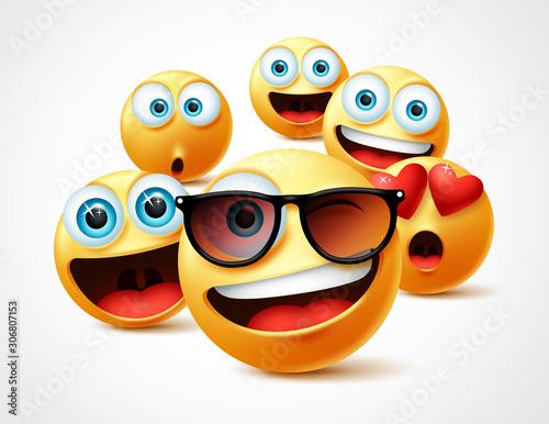 Obraz na plátně Smileys emojis famous celebrity vector concept