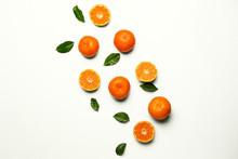 Sweet Tangerines On White Back...