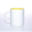 White mug ceramic yellow inside for mockup with clean background