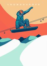 Vector Illustration Snowboarding Vintage Retro Design For Poster