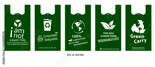 green bag concept or biodegradable plastic, compostable and recycleable   concept Canvas Print