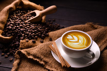 Cup Of Coffee Latte And Coffee...