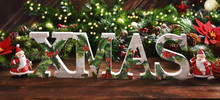 Christmas Background With Decorative Letters XMAS
