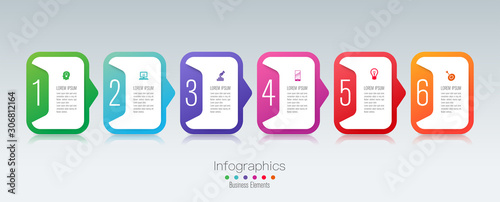 Photo  Infographics design paper art style and business icons with 6 options