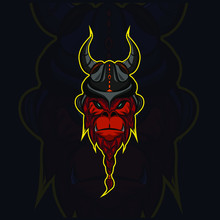 The Strong King Of Gorilla Monkey With Viking Helm Logo Mascot Design From The Nordic Clan With Black Background
