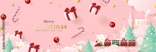 Merry christmas background composition in paper cut style. Vector illustration.