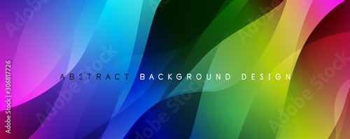 Fototapety, obrazy: Trendy simple fluid color gradient abstract background with dynamic wave line effect. Vector Illustration For Wallpaper, Banner, Background, Card, Book Illustration, landing page