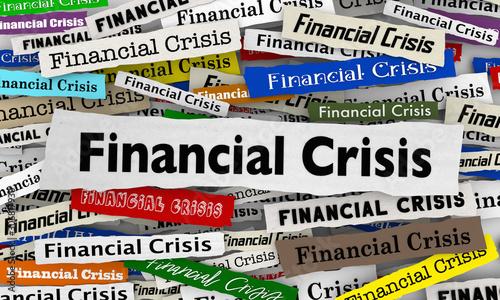 Pinturas sobre lienzo  Financial Crisis Newspaper Headlines Bad Economy 3d Illustration