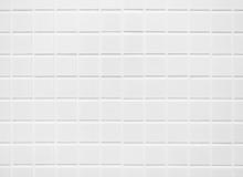 White Tile Wall Background Bat...