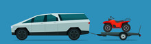Electric SUV Car Tows A Trailer With A ATV. Vector Flat Style Illustration.