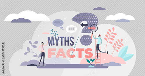 Cuadros en Lienzo Myths and facts vector illustration