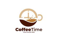 Coffee Time Logo Design Vector Template
