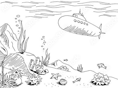 Underwater submarine graphic sea black white sketch illustration vector Canvas