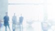 Leinwandbild Motiv Abstract blurred interior modern office space with business people working banner background with copy space.