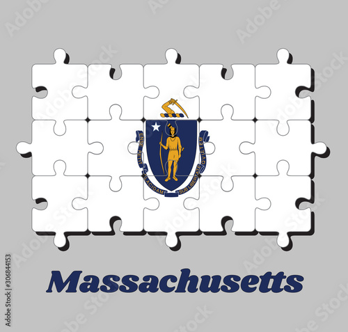 Obraz na plátně Jigsaw puzzle of Massachusetts flag