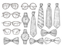 Sketched Mens Accessories. Gla...
