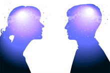 Profile Of A Young Woman And A Man With Mental Activity Brain And Consciousness, With The Cosmos As A Brain.