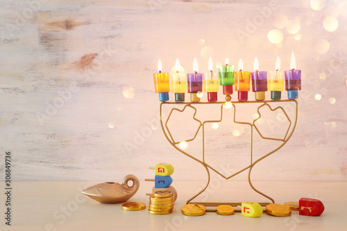 Religion image of jewish holiday Hanukkah background with menorah (traditional c Wallpaper Mural