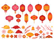 Chinese new year elements. Asian lantern, japanese cloud and sakura branch. Traditional korean flower and pattern. Festive 2020 vector set. Illustration chinese lantern and traditional decoration