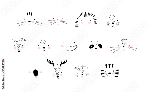 Collection of cute animal faces. Details of the portrait, nose, eyes, mustache, mouth. Universal elements for baby design. Doodle vector illustration isolated on white background