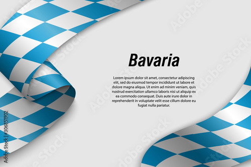 Fotografering Waving ribbon or banner with flag State of Germany