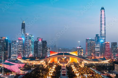 Night city view of Shenzhen, China Canvas Print