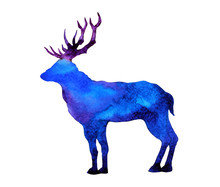 Abstract Art Deer Big Horn Wat...