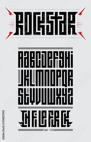 Obraz Rockstar - original font. Suitable for t-shirt prints, headlines, poster designs. Full set of letters. Vector illustration. - fototapety do salonu