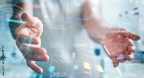 Businessman using digital technological interface with datas 3D rendering