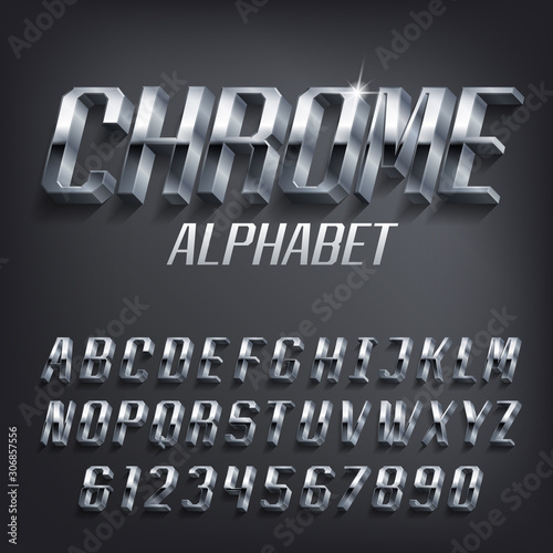 Obraz Chrome alphabet font. 3D effect geometric metallic letters and numbers with shadow. Stock vector typescript for your design. - fototapety do salonu
