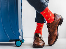 Stylish Suitcase, Men's Legs, ...