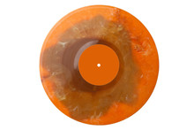 New Orange Plastic Vinyl Musical Lp Record With Orange Label Isolated Over A White Background