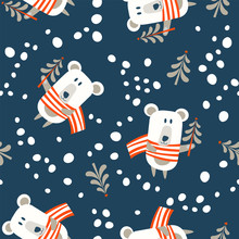 Seamless Christmas Pattern On Blue Background. Vector Illustration.