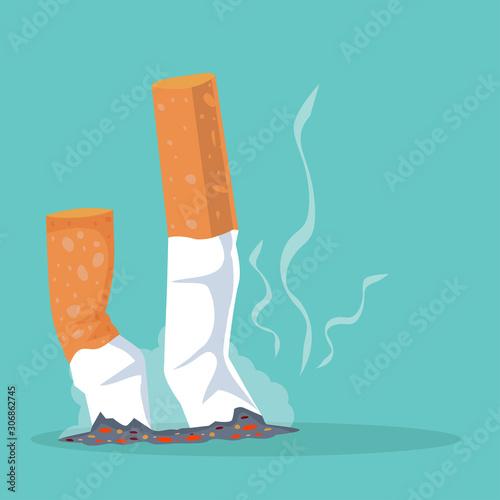 Fototapeta Cigarettes with smoking product Flat illustration