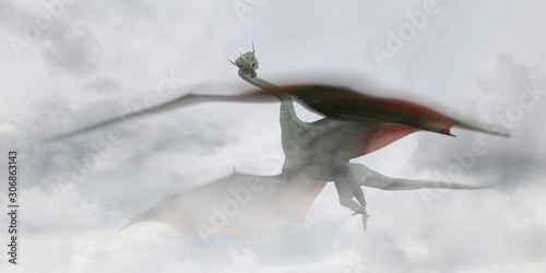 dragon, giant fairy tale creature flying through the clouds