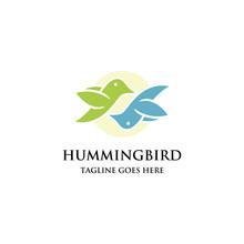 Couple Hummingbird Fly Logo Ic...