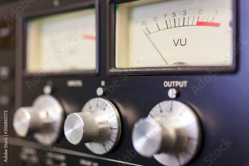 Photo UV Sound Meter and Control Dials in Recording Studio